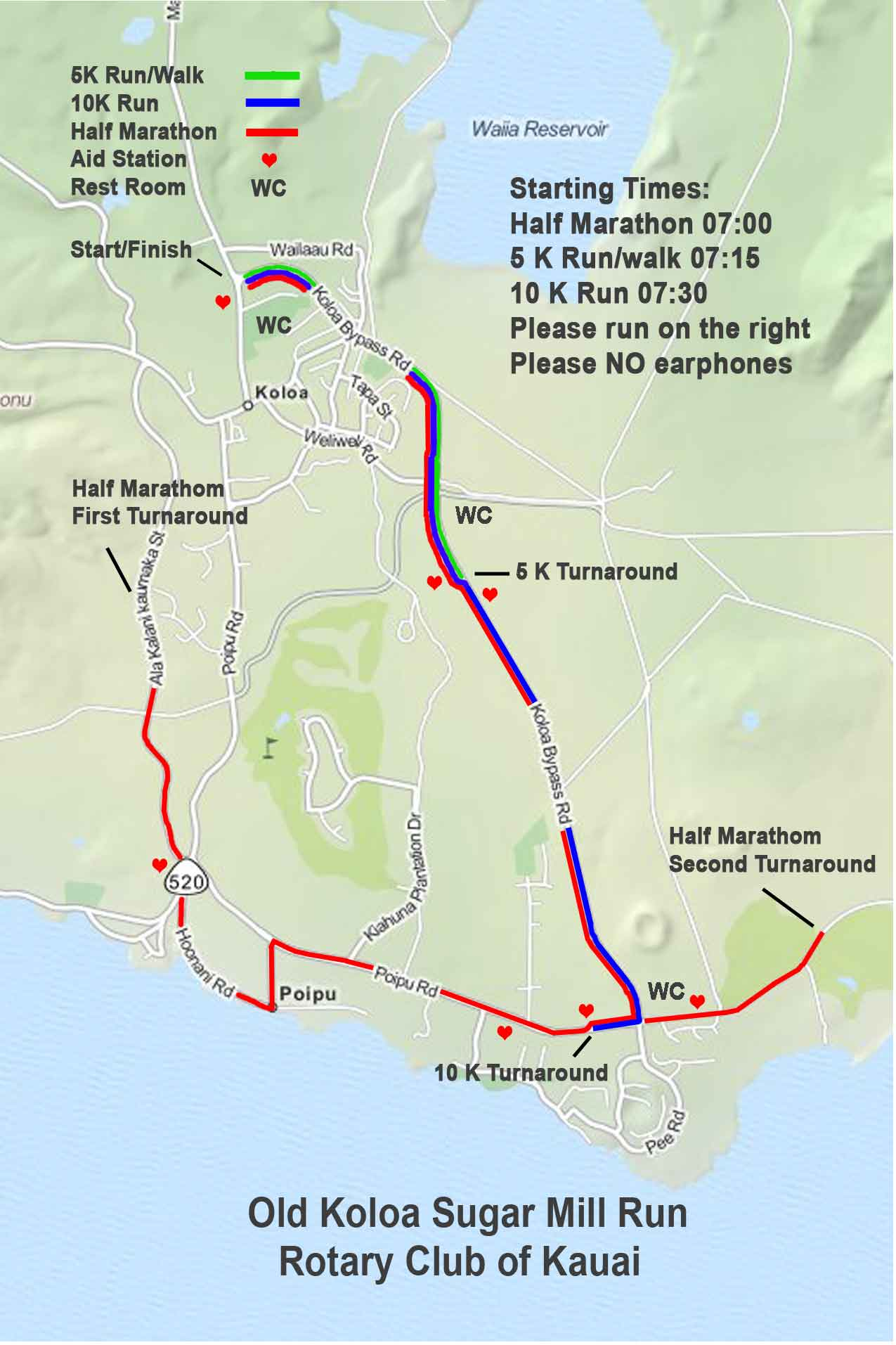 Old Koloa Sugar Mill Run Map - Sponsored by the Rotary Club of Kaua'i