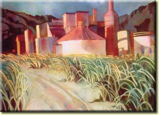 Original watercolor created by local artist, Helen Mehl.  Made especially for the Old Koloa Sugar Mill Run.